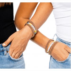 Gold Beaded Bracelets with MAMA Tile Bracelet